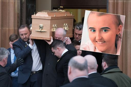Alexandra Johnston (inset), Alexandra Johnston's mum Karen at the funeral of her daughter in Derry on Sunday. Picture: Martin McKeown