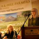 Guest Speaker, school teacher and community activist Edwina Guckian with Mary Rooney and Bridget Murphy (INHFA) at the Irish Natura & Hill Farmers Association, Forestry Conference. Photo Brian Farrell