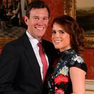Princess Eugenie and Jack Brooksbank in the Picture Gallery at Buckingham Palace in London after they announced their engagement. Photo: Jonathan Brady/PA Wire