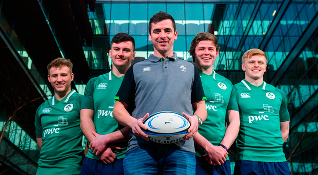 Ireland U-20 manager Noel McNamara with Jonny Stewart, Diarmuid Barron, Sean Masterson and Tommy O'Brien at a press conference at the PwC head office in Spencer Dock Photo: David Fitzgerald/Sportsfile