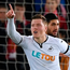Swansea's Alfie Mawson celebrates scoring the game's only goal. Photo: Getty Images