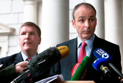 Michael McGrath, left, disagrees with his party leader Micheál Martin on the issue of abortion. Photo: Tom Burke