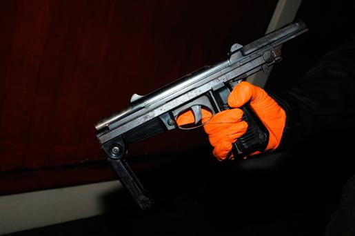 The loaded submachine gun seized by gardaí in Lucan