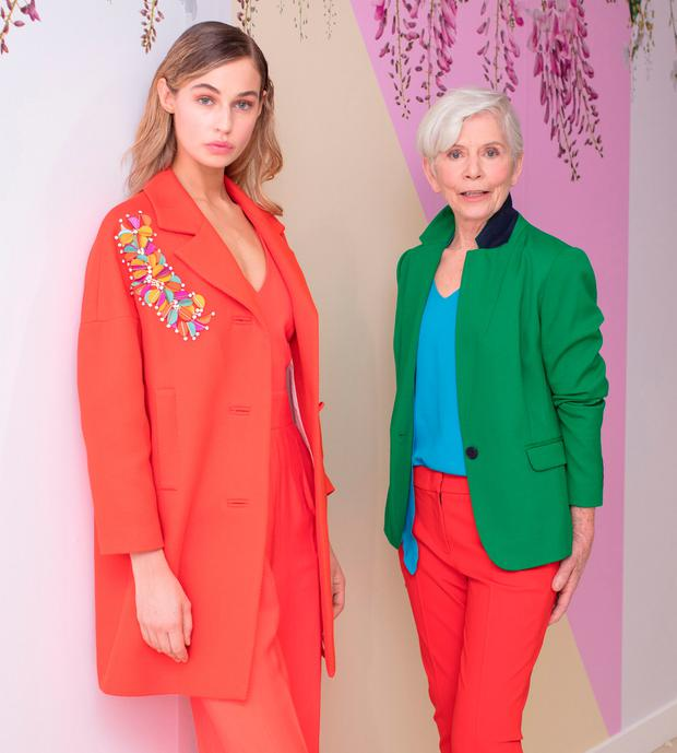 Thalia Heffernan opened the show in an orange embellished coat (€490) over an orange jumpsuit (€325), by Tara Jarmon while 73-year-old model and mum-of-three Lorna Britton flipped the collar up on her Hobbs Kelly green jacket (€205), teamed with Luisa Cerano turquoise top (€270) and tailored red trousers (€270).