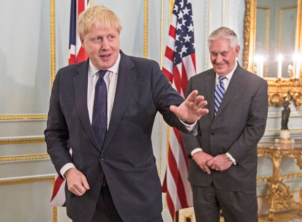 UK Foreign Secretary Boris Johnson, left, and Rex Tillerson, US Secretary of State. Photo: Getty Images