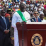 Liberia's president-elect and former football star George Weah (C) delivers a speech during his swearing-in ceremony yesterday in Monrovia. Photo: Getty Images