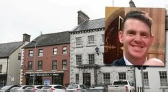 Seamus Bell (inset) is fighting for his life after a one-punch attack on Main Street Carrickmacross