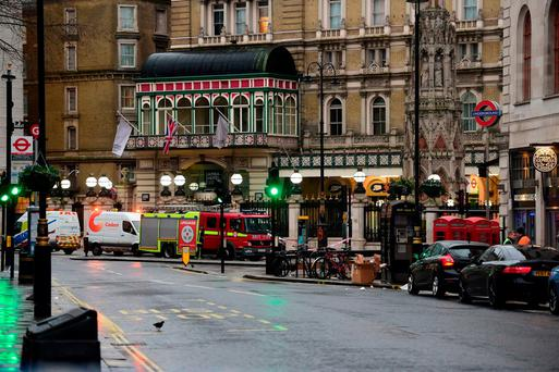 A fire engine outside Charing Cross railway station on the Strand in central London after some 1,450 people were evacuated from a nightclub and a hotel and the station was closed following a leak from a gas main. David Mirzoeff/PA Wire