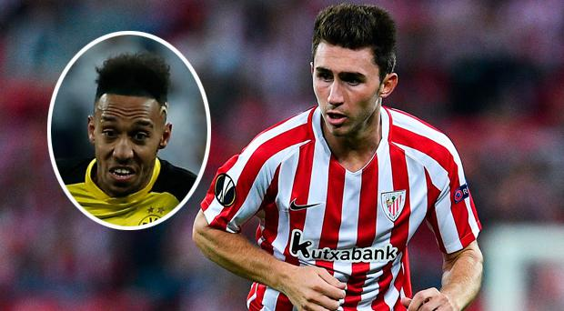 Aymeric Laporte and (inset) Pierre-Emerick Aubameyang