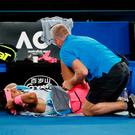 Spain's Rafael Nadal receives medical attention during his match against Croatia's Marin Cilic