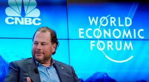 Marc R. Benioff, Chairman and Chief Executive Officer of Salesforce, Member of the Board of Trustees of World Economic Forum, gestures as he attends the World Economic Forum (WEF) annual meeting in Davos, Switzerland, January 23, 2018. REUTERS/Denis Balibouse