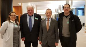 MEP Seán Kelly is pictured with Tom Clair from Maghera, Lahinch, Co Clare and his daughter Trisha and son Donnacha. The Clair family presented their case to the European Parliament's Petitions Committee in Brussels today with Mr Kelly's assistance.