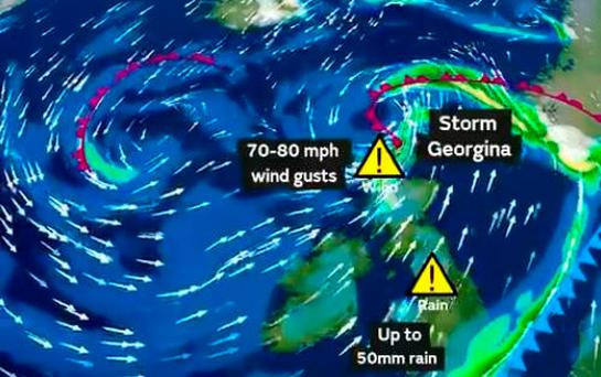 Wednesday's weather: Rain and wind warnings in place for Storm Georgina