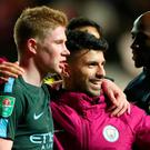Manchester City's Kevin De Bruyne and Sergio Aguero celebrate after the match