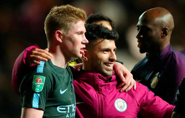 Manchester City's Kevin De Bruyne and Sergio Aguero