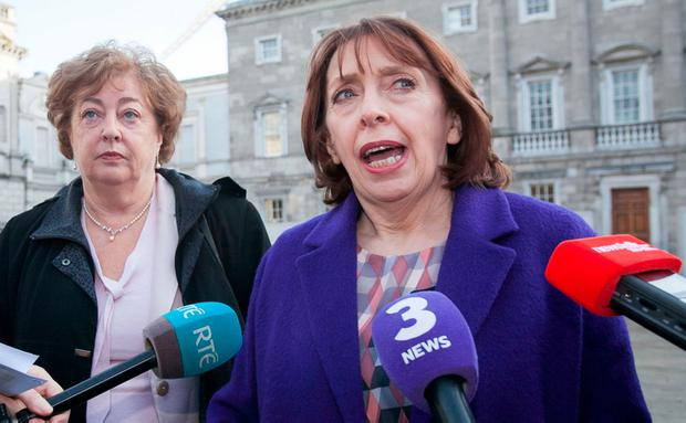 Social Democrat TD Róisín Shortall (right) during a press briefing on the plinth of Leinster House. Photo: Gareth Chaney, Collins