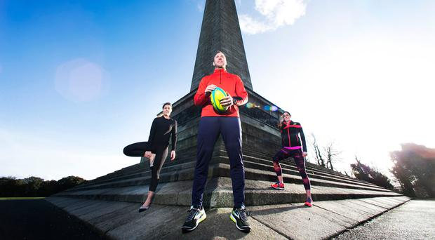 Stephen Ferris with pilates expert Hayley Killen and Olympic athlete Jessie Barr at the launch of Outdoor Revolution, which will be Ireland's largest outdoor sports, health and wellness event and takes place at the RDS on March 24-25. For more information, see www.outdoorrevolution.ie.
