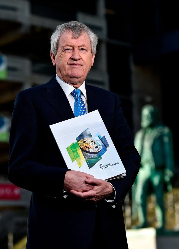 Páraic Duffy at the launch of his final annual report as the GAA Director General at Croke Park yesterday. Photo: Seb Daly/Sportsfile