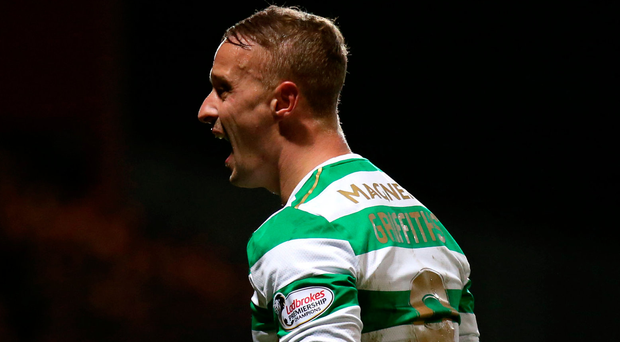 Celtic's Leigh Griffiths celebrates after the final whistle. Photo: PA