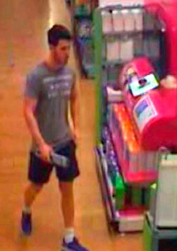 Joshua Stimpson pictured on CCTV purchasing a knife