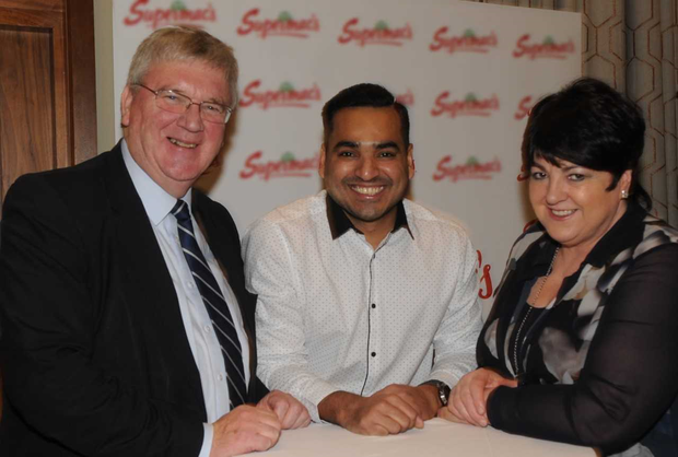 Pat and Úna McDonagh with Zaheer Ahmed, Manager of the Supermac's Tuam Road, Galway having won Company Outlet of the Year at the Supermac's All Stars Awards in the Loughrea Hotel and Spa