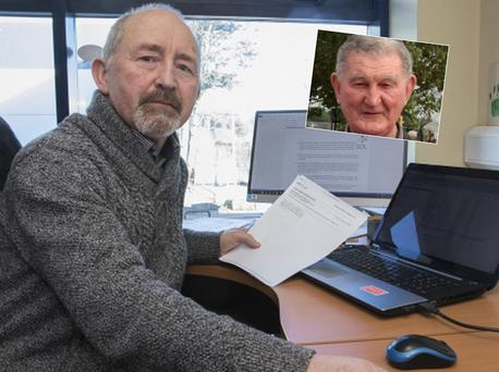 Jim Staples with the emails he received and (inset) Fr Leo Staples