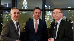 The partnership between HBAN and the Digital Irish Angels was launched at an event at the Residence of the Consul General in New York City. Pictured at the event are (L-R) John Phelan, national director, HBAN; Feargall Kenny, Digital Irish Angels Syndicate; and Ciarán Madden, Consul General of Ireland in New York. Photo credit: James Higgins
