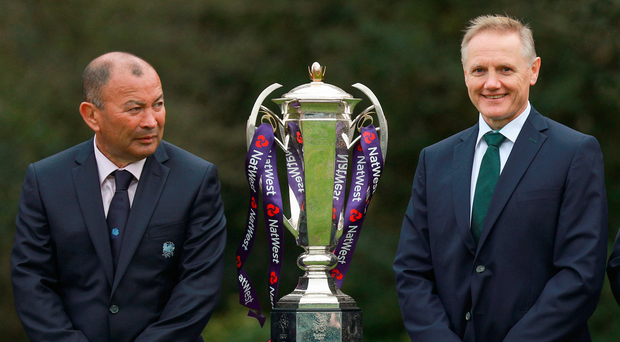 24 January 2018; England head coach Eddie Jones, left, along with Ireland head coach Joe Schmidt at the Natwest Six Nations 2018 launch at Syon Park in London, England. Photo by Ian Walton/Sportsfile