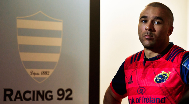 14 January 2018; Simon Zebo of Munster prior to the European Rugby Champions Cup Pool 4 Round 5 match between Racing 92 and Munster at the U Arena in Paris, France. Photo by Brendan Moran/Sportsfile