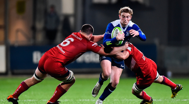 15 December 2017; Cathal Marsh of Leinster A is tackled by George Kloska and Jack Capon of Bristol during the British & Irish Cup Round 4 match between Leinster A and Bristol at Donnybrook Stadium in Dublin. Photo by Matt Browne/Sportsfile