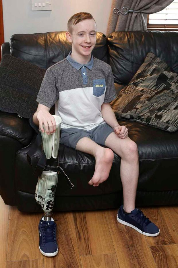 Tristin Stewart, 15, was diagnosed with an aggressive form of soft tissue cancer known as synovial sarcoma in his right leg last June