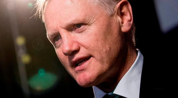 Joe Schmidt speaking at the launch of the NatWest Six Nations in London yesterday. Photo: James Crombie/INPHO