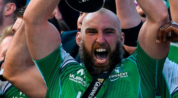 Finest hour: Muldoon raises the Pro12 trophy after Connacht's win in 2016. Photo: Ramsey Cardy/Sportsfile