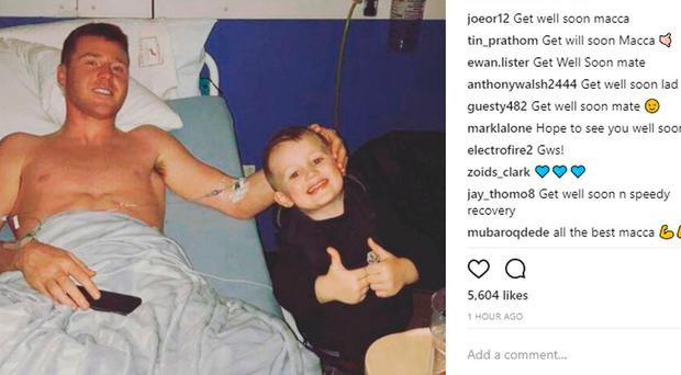 James McCarthy posted this image on Instagram of his recuperation after surgery on his leg. Photo: jamesmccarthy90/Instagram/PA