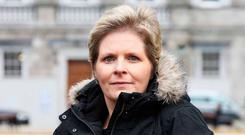 Mesh implant sufferer Lesley-Anne Stephens, from Co Carlow, was at the Dáil yesterday. Photo: Leah Farrell/RollingNews