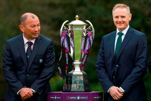 England head coach Eddie Jones, left, along with Ireland head coach Joe Schmidt at the Natwest Six Nations 2018 launch at Syon Park in London, England. Photo by Ian Walton/Sportsfile