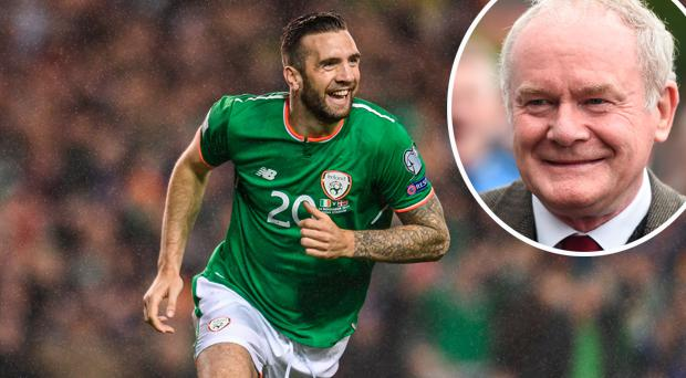 Shane Duffy and (inset) Martin McGuinness
