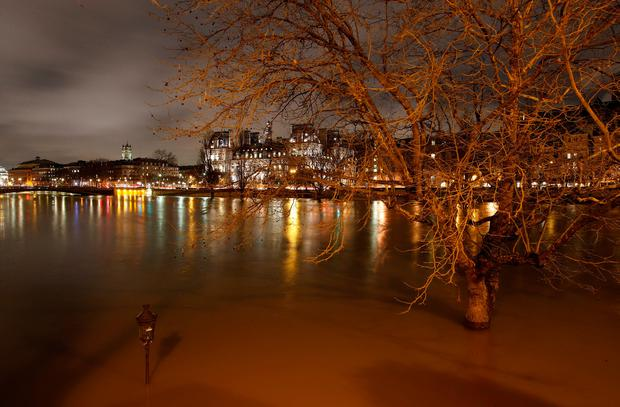 A street-lamp and a tree are seen on the flooded banks of the River Seine in Paris, France, after days of almost non-stop rain caused flooding in the country, January 25, 2018. REUTERS/Christian Hartmann