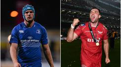 Tadhg Beirne during his time at Leinster (left) and after winning the PRO 12 with The Scarlets (right).