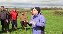 Teagasc dairy specialist George Ramsbottom explains Jim Delahunty's approach to grass management at a farm walk at the Delahunty farm in Ballykinash, Carrig, Co Tipperary.