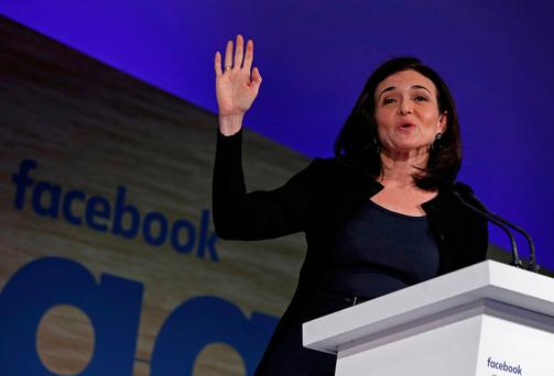 Sheryl Sandberg, Facebook's chief operating officer, addresses the Facebook Gather conference in Brussels, Belgium January 23, 2018. REUTERS/Yves Herman