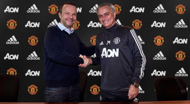 Ed Woodward and Jose Mourinho were all smiles as th Portuguese signed a new deal