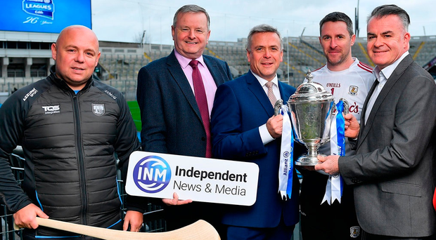 Allianz CEO Sean McGrath and Head of Marketing and Communications Damien O'Neill with INM Head of Sports Content David Courtney, Derek McGrath and Colm Callanan at the launch of independent.ie's 'The Throw-In' Podcast, which is being sponsored by Allianz. Photo: Brendan Moran/Sportsfile