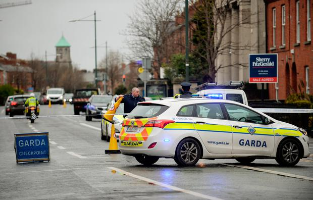 General view of Gardai cordon on South Circular road, scene of last nights shooting outside National Stadium. South Circular Road, Dublin. Picture: Caroline Quinn
