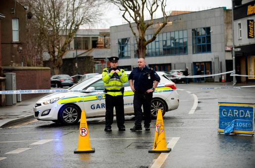 General view of Gardai cordon on South Circular road, scene of last night's shooting outside National Stadium. South Circular Road, Dublin. Picture: Caroline Quinn