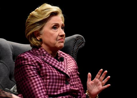 Hillary Clinton speaks during an interview with Mariella Frostrup at the Cheltenham Literature Festival Photo: Reuters