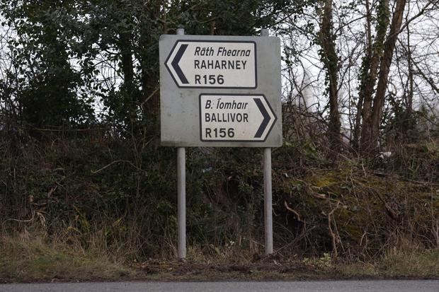 A sign for Ballivor, Co. Meath, where a farmer was assaulted and robbed in the local area. Picture credit; Damien Eagers