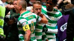 Celtic's Leigh Griffiths (centre) celebrates