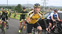 Noel McDermott pictured in yellow Photo: Errigal Cycling club