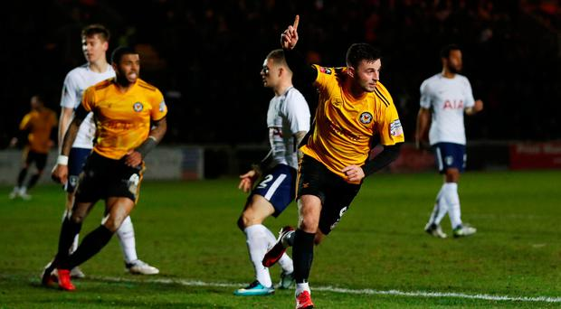Newport County's Padraig Amond celebrates scoring against Tottenham